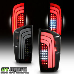 For 2016 2020 Toyota Tacoma Black Smoked Led Sequential Tail Lights Brake Lamps