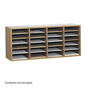 Wood Adjustable Literature Organizer 24 Compartment Medium Oak