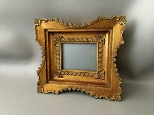 Antique Vtg Italian Miniature Gold Gilt Carved Wood Picture Frame W Glass