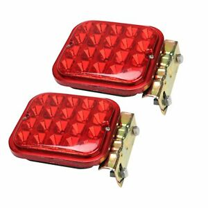 2x 4 5 20 Led Trailer Tail Truck Boat Turn Signal Brake Light Red Square