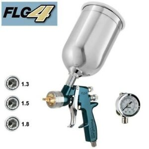 Finishline Devilbiss 4 Hvlp Paint Gun Gravity Feed Solvent Based Spray 3 Tips