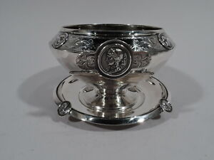 Gorham Medallion Bowl Stand 40 Antique Sauce Plate American Coin Silver