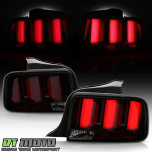 2005 2009 Ford Mustang Led Tube Sequential Turn Tail Lights Lamps Smoked W Red