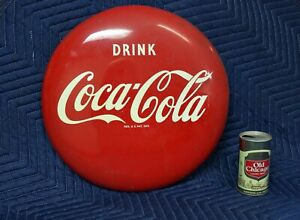Vintage Coca Cola 16 inch Button Metal Sign -  60 - 70 + Years Old