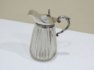 Antique Gorham Sterling Silver And Glass Whisky Jug