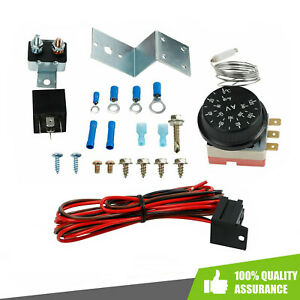 Adjustable Electric 12v Radiator Fan Thermostat 3 pin Control Relay Wire Kit