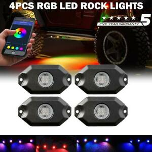 4x Multi Color Rgb Led Rock Light Kit Underbody Glow Lamp Offroad For Pickup Atv