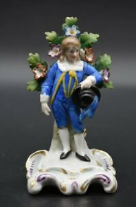 4 1 2 Sitzendorf Germany Porcelain Figurine Of Blue Man Boy With Hat