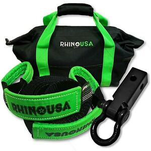 Rhino Usa Combo Recovery Tow Strap 20ft Shackle Hitch Receiver Lab Test