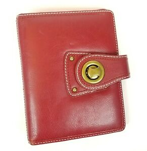 Franklin Covey Compact Red Leather Strap Binder