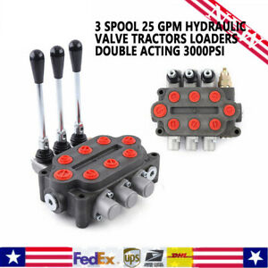 3 Spool 25 Gpm Hydraulic Electric Valve Double Acting Tractors Loaders 3000psi