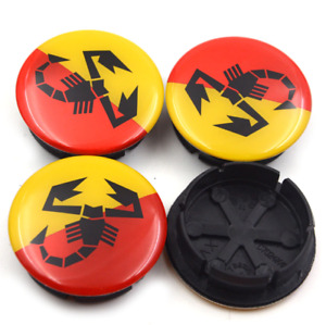 4x50mm Red Yellow Wheel Center Caps For Fiat Abarth Multipla Punto Hubcaps Logo