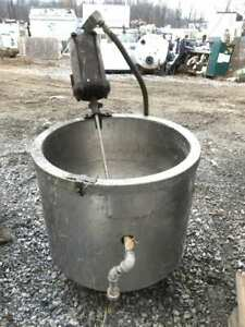 30 Gallon Stainless Jacketed Mixing Tank W Single Phase Lightnin Agitator