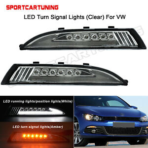 For Vw Scirocco 2008 2014 Clear Led Turn Signals With Lightbar Drl Style Lights