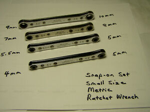 1993 Snap on Rare Smallest Sizes Metric 6pt 0 Double Ratcheting Wrench Set 4pcs