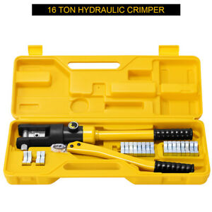 16 Ton Hydraulic Wire Terminal Crimper Battery Cable Lug Crimping Tool W Box