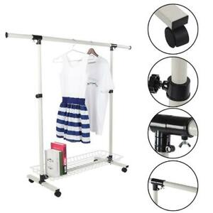 Clothes Hanger Rolling Garment Rack Adjustable Duty Rail Collapsible Single Rail