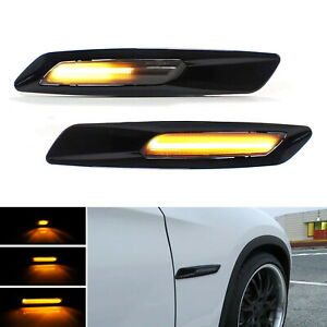 Black F10 Style Sequential Amber Led Side Marker Lights For Bmw 1 3 5 Series