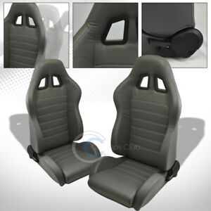 Universal Sp Gray Pvc Leather White Stitch Racing Bucket Seats slider Pair C19s