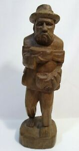 Vintage Hand Carved Wooden Beggar Man With Bowl And Backpack 7 5 Tall