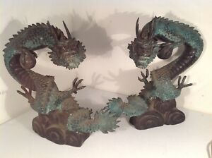 2x Antique Japanese Bronze Water Dragon Statues