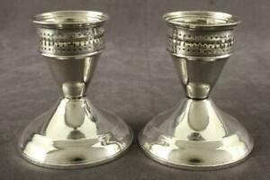 Vintage Sterling Silver Weighted Duchin Creation Hurricane Candle Holders 3