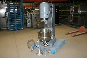 Hobart M 802 80 Qt Quart Mixer W New Whip Paddle Hook Bowl Commercial Bakery
