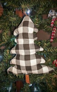 Handmade Primitive Farmhouse Country Buffalo Plaid White And Black Tree Ornament