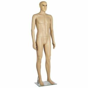 Realistic Male Mannequin With Base Painted Facial Features Flesh Tone