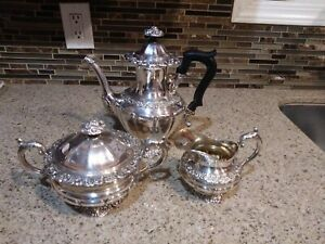 Antique Beautiful 925 Sterling Silver 1930 S 3 Pc Coffee Tea Set