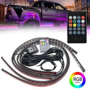 4pcs Led Strip 8 Color Rgb Under Car Tube Underglow Underbody System Lights Kit