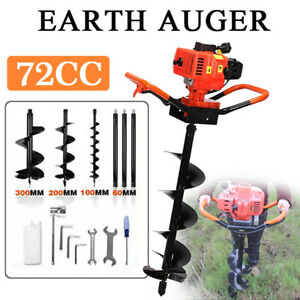 New 72cc Petrol Gas Powered Earth Auger Post Hole Borer Ground Drill 3 Bits 3kw