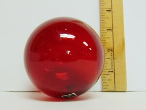 Vintage Japanese Hand Blown 3 Glass Fishing Float Ball Red W Sticker