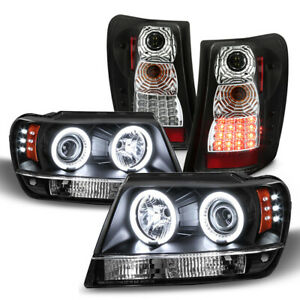 Blk 1999 2004 Jeep Grand Cherokee Led Ccfl Projector Headlights led Tail Lights