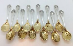 Gorham Antique 900 Coin Silver Medallion Pattern Set Of 12 Ice Cream Spoons