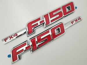 2 Chrome And Red Fender Side Emblem Badge Decal Fit Ford F150 Fx4 F 150 2002 19