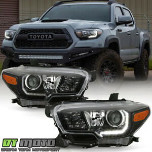For 2016 2019 Toyota Tacoma Trd W Led Drl Black Projector Headlights Headlamps