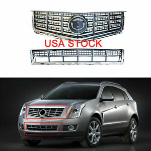 Chrome Front Bumper Upper Lower Grille Set For 2013 2014 2015 Cadillac Srx