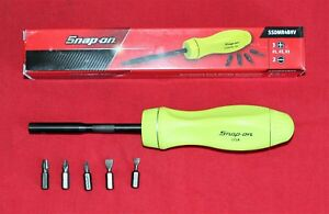 Snap On Tool Screwdriver High Visibility Yellow Hard Handle 5 Bit Tips New