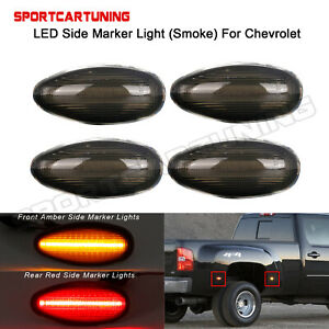 Smoked Lens Led Side Fender Marker Light For Chevrolet Silverado Gmc Sierra 4pcs