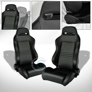 2x Universal Tr Blk Stitch Pvc Leather Reclinable Racing Bucket Seats slider C01
