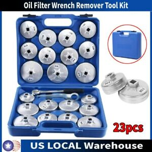 23pcs Set Cup Type Aluminium Oil Filter Wrench Removal Socket Remover Tool Kit