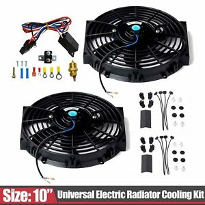 2pcs 10 Electric Radiator Cooling Fan Thermostat Relay Switch Mount Kit Bk