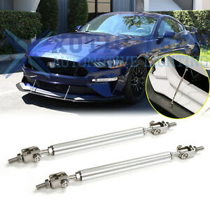 For Ford Mustang Adjustable Chrome Front Bumper Lip Splitter Strut Rod Tie Bars