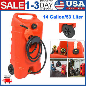 New 14 Gallon Portable Fuel Gas Tank Jug Container Caddy Hand Pump 10 Ft Hose Us