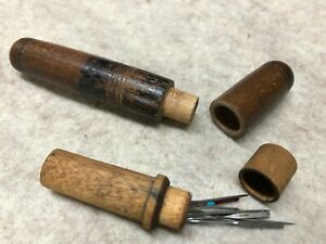 Two Antique Wooden Sewing Needle Holders Pre Owned
