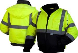 High Visibility Safety Jacket Insulated Bomber Reflective Construction Work Road