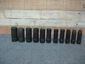 Chrome Vanadium Deep Impact Socket Set 1 2 Drive 11 Sockets 3 8 1
