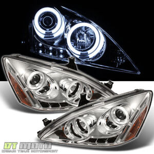 For 2003 2007 Honda Accord Led Ccfl Halo Projector Headlights 03 07 Left right