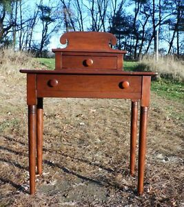 Antique 1840 S Sheraton 2 Drawer Stand Desk Vanity Entry Table New England